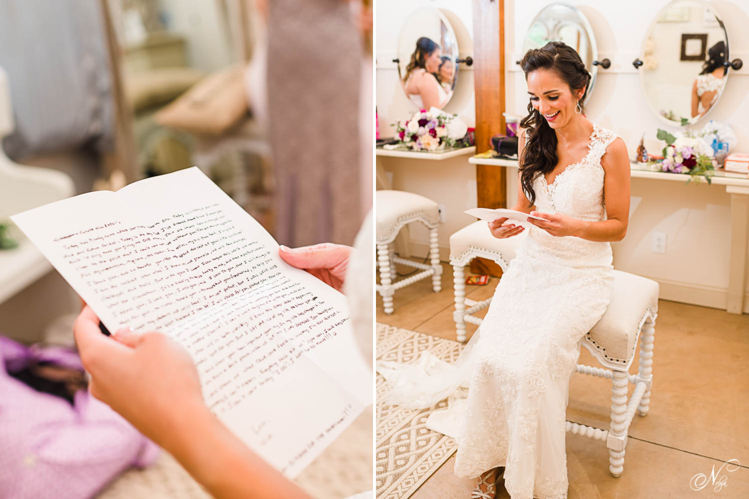 bride reading letter from groom in bridal room at hiwassee river weddings
