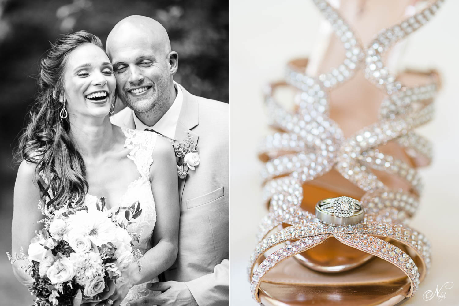 bride and groom laughing and wedding ring on brides shoe