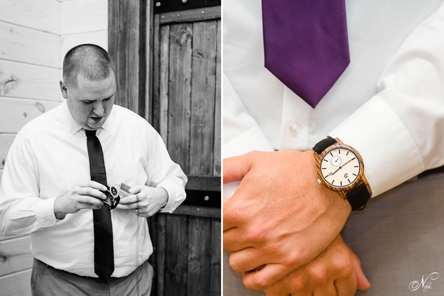 groomsman opening gift and details photo of a watch