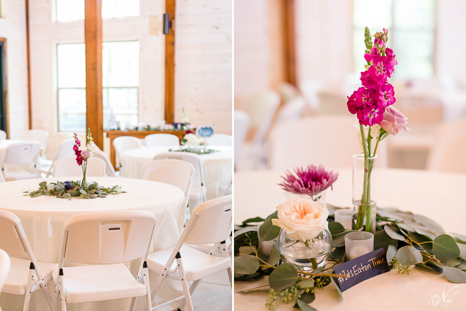 reception details with florals from Fox and Fern of Chattanooga