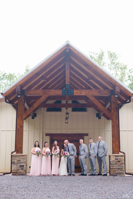 groom seeing his bride walk down the steps at Hiwassee River weddings