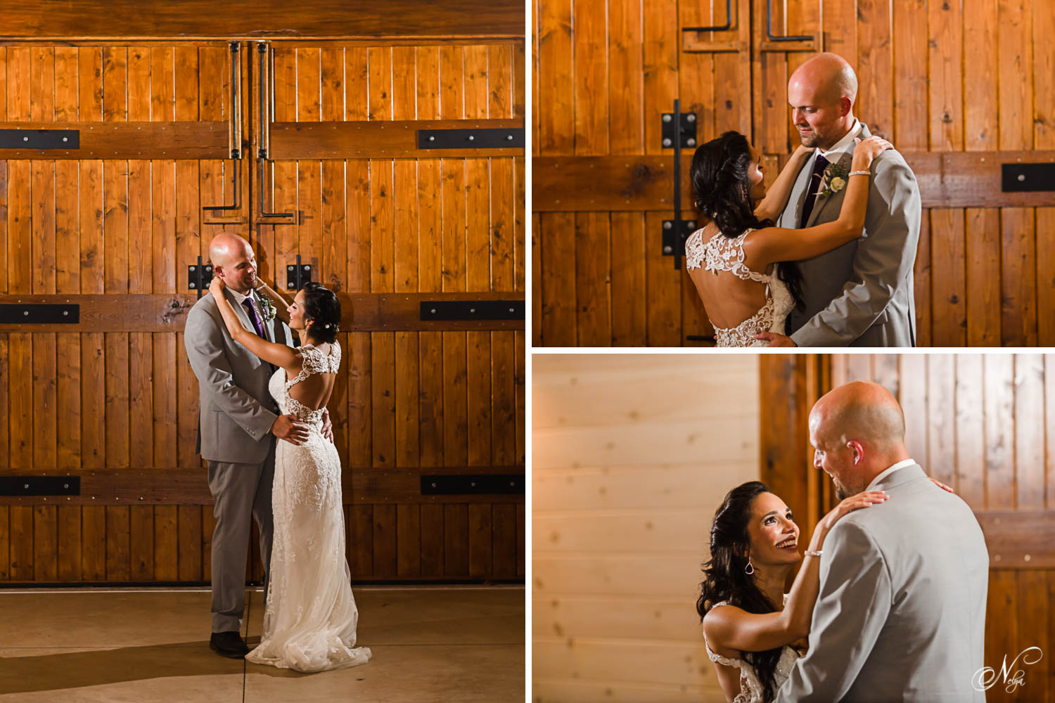 new couple's first dance in front of the huge handmade wooden doors at Hiwassee River Weddings