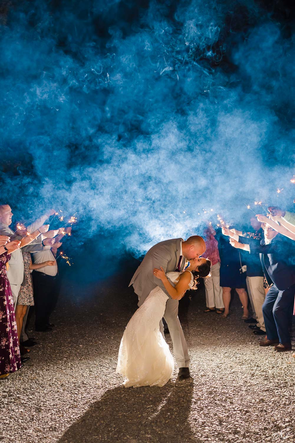 killer sparkler exit with a dip and a kiss