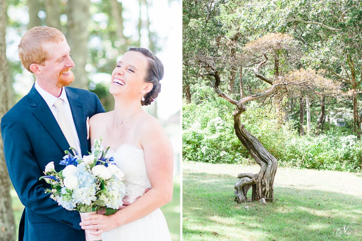 bride and groom laughing together and bonsai tree in Massachusetts