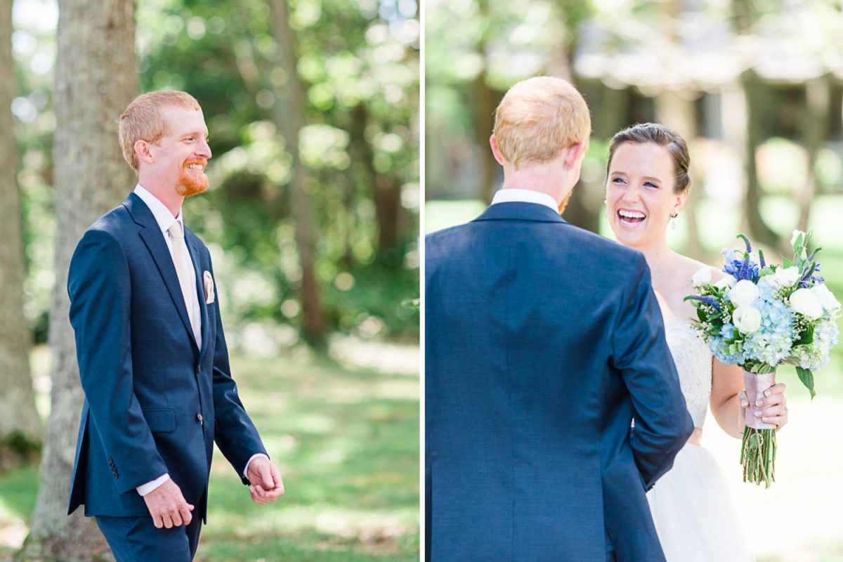 first look! groom seeing the bride for the first time