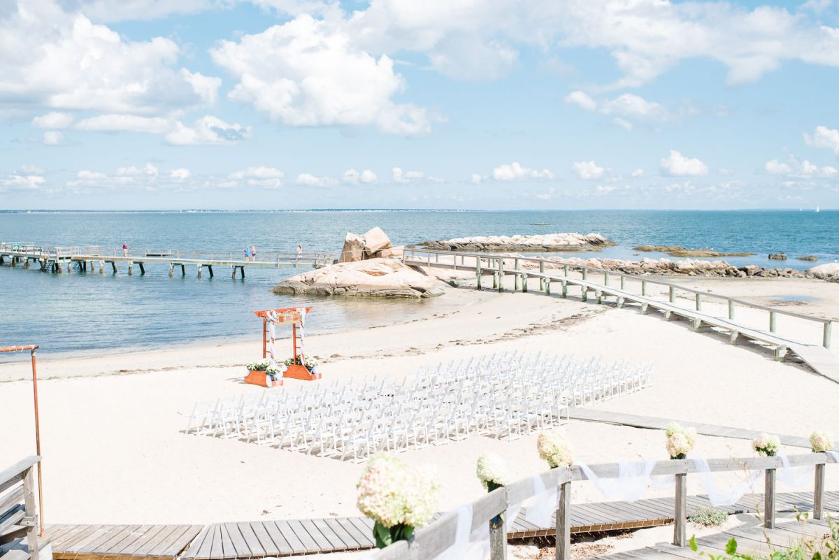 seaside beach wedding ceremony in Massachusetts