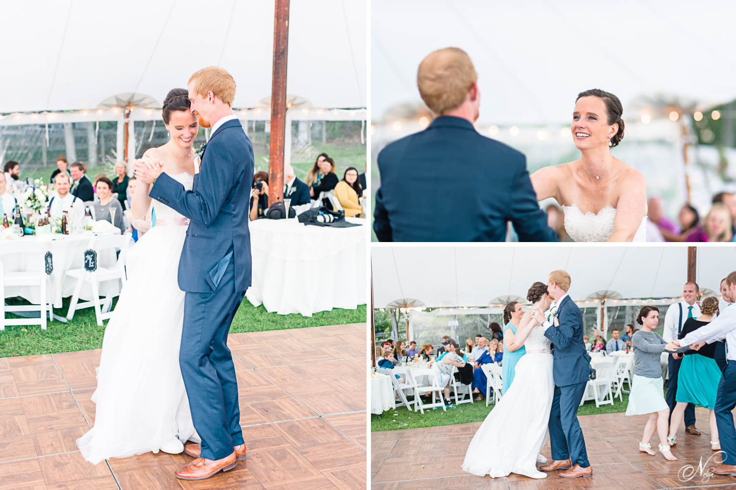 newlyweds first dance under a tent