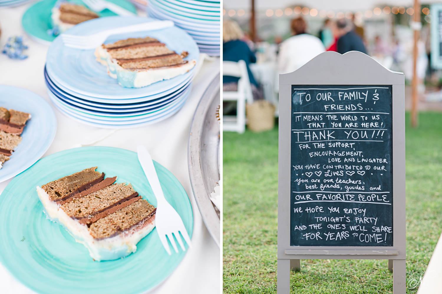 wedding cake slices and custome chalkboard welcome wedding party sign