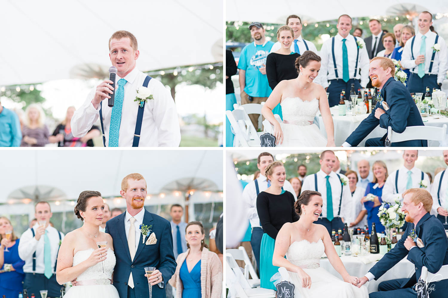 wedding toasts and bride and grooms reaction