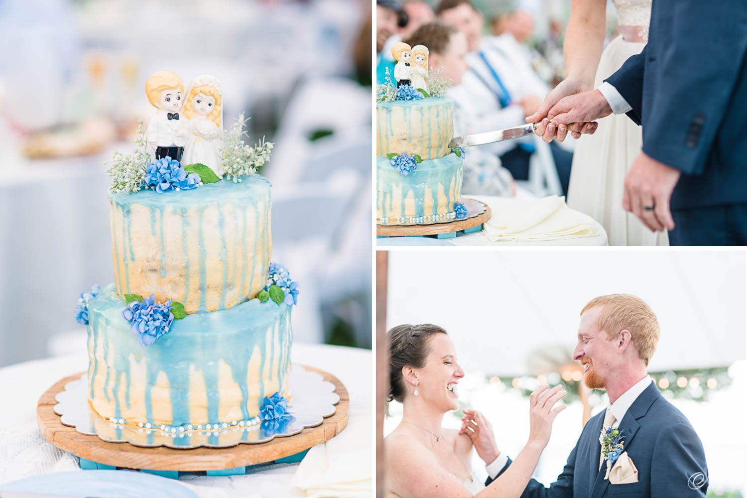 blue and cream two tiered wedding cake