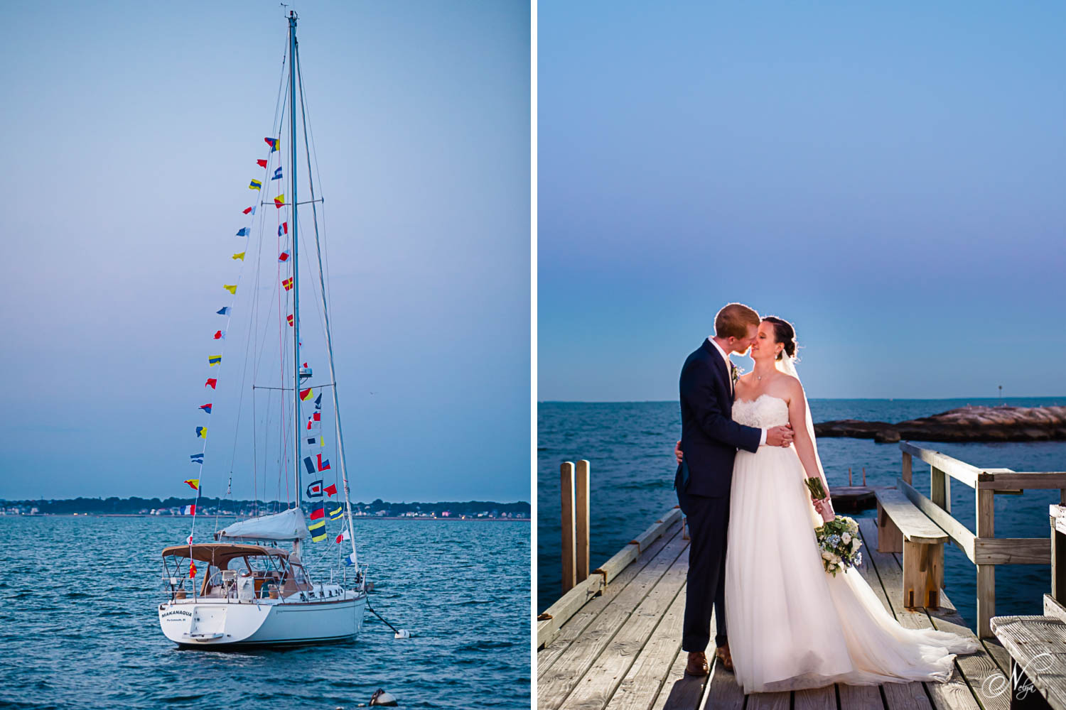 sail boat at night and bride and groom on the dock