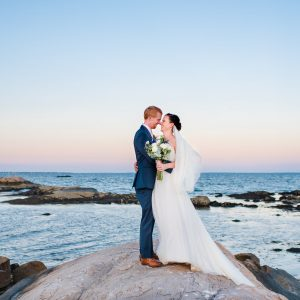 New England sunset wedding portraits