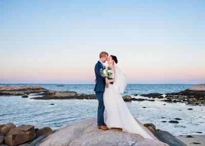 New England sunset wedding portraits