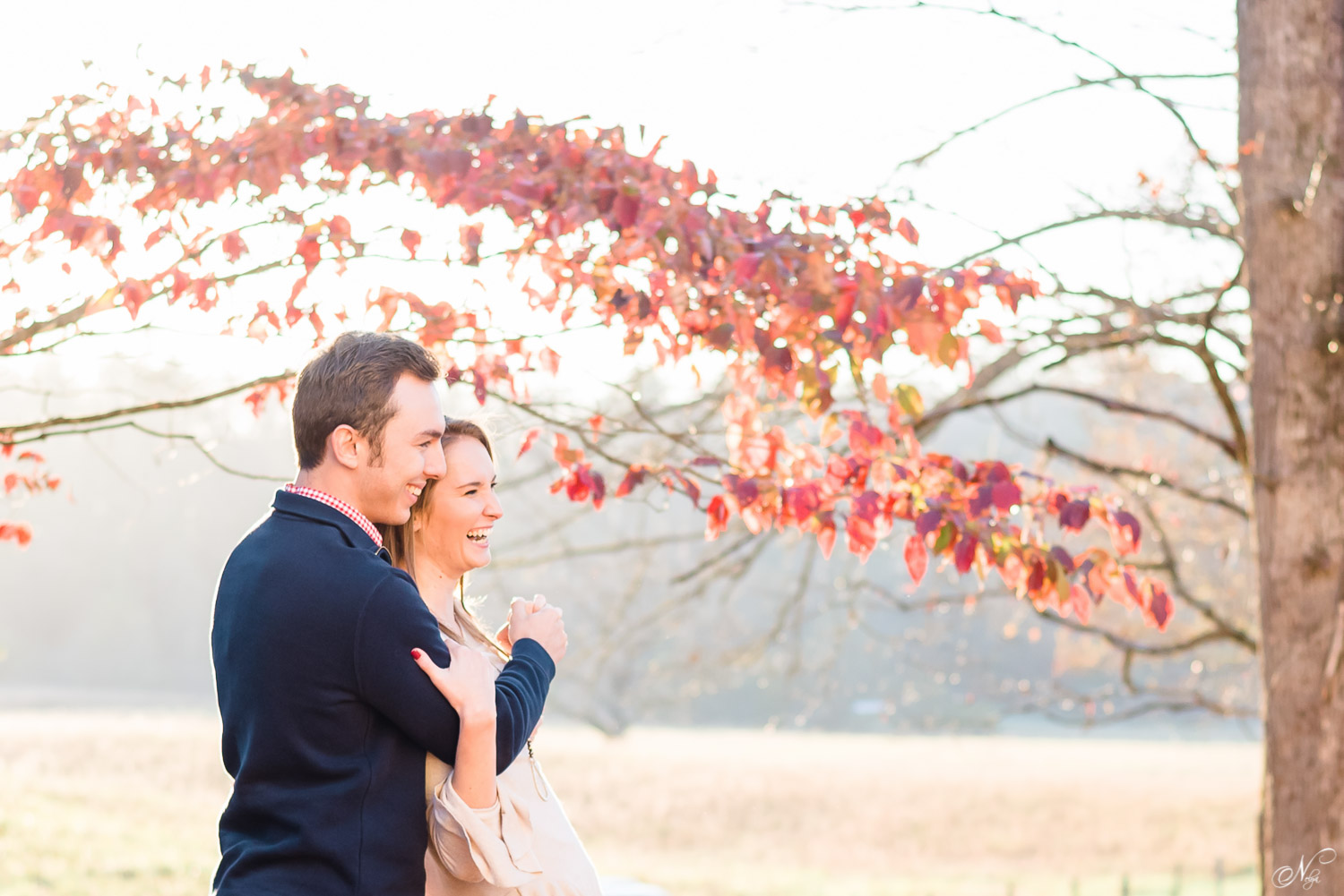 engagement photos of couple with tennessee fall foliage in the background