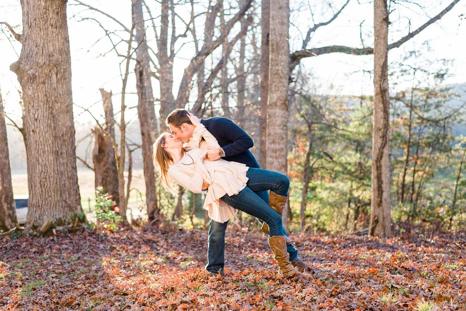 late fall engagement photos in tennessee brown dry leaves