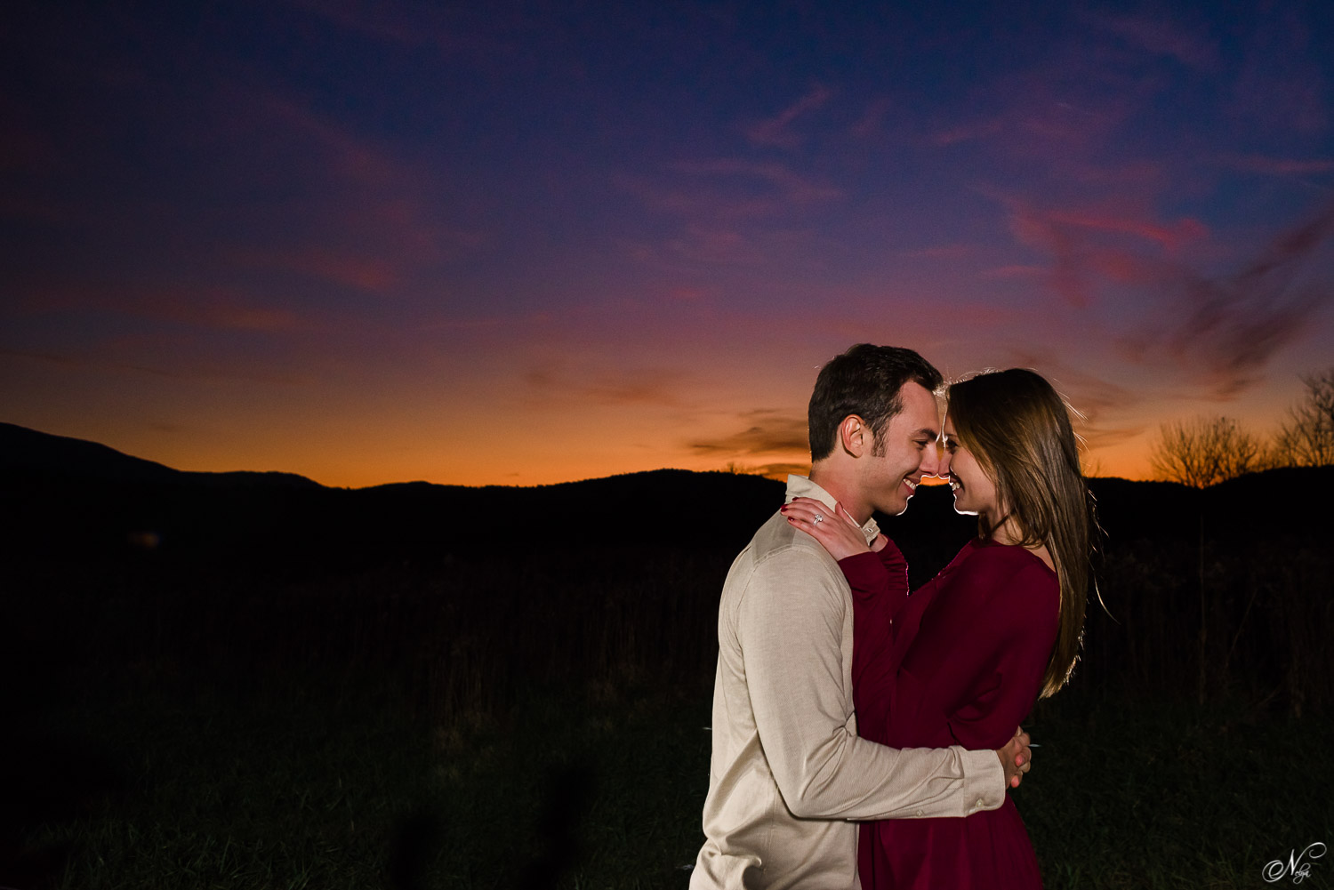 after sunset pre wedding photo of couple in the TN mountains
