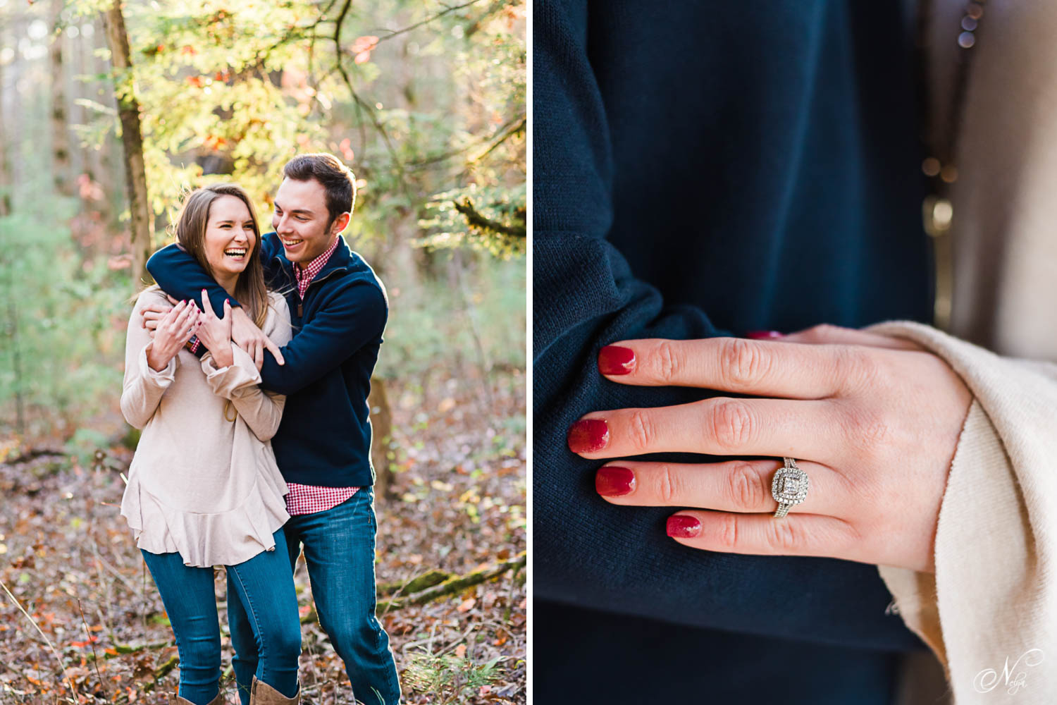couple laughing in over the shoulder hug and hand with red nails and engagement ring