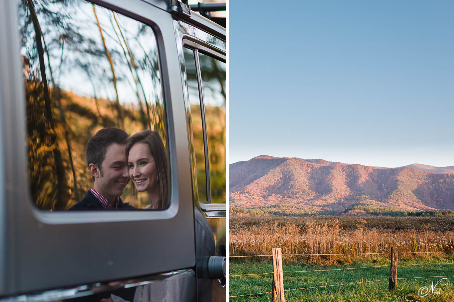 faces reflected in jeep window and cades cove mountains at sunset