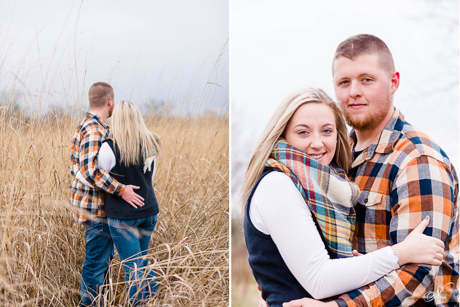 couple in tall grass in Knoxville on cold December day