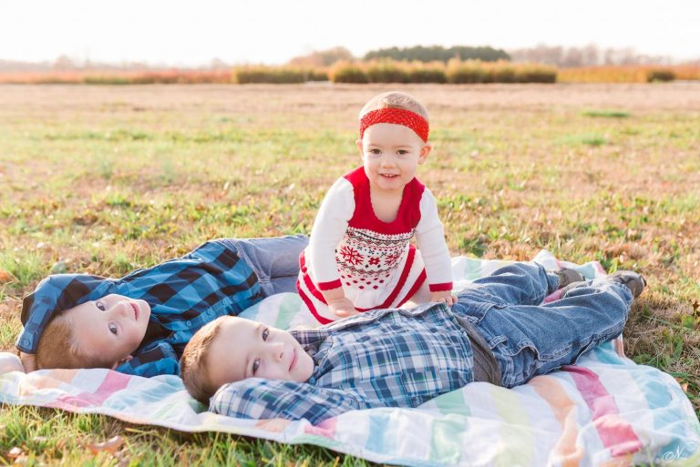 toddlers sitting on a blanket out in a field.