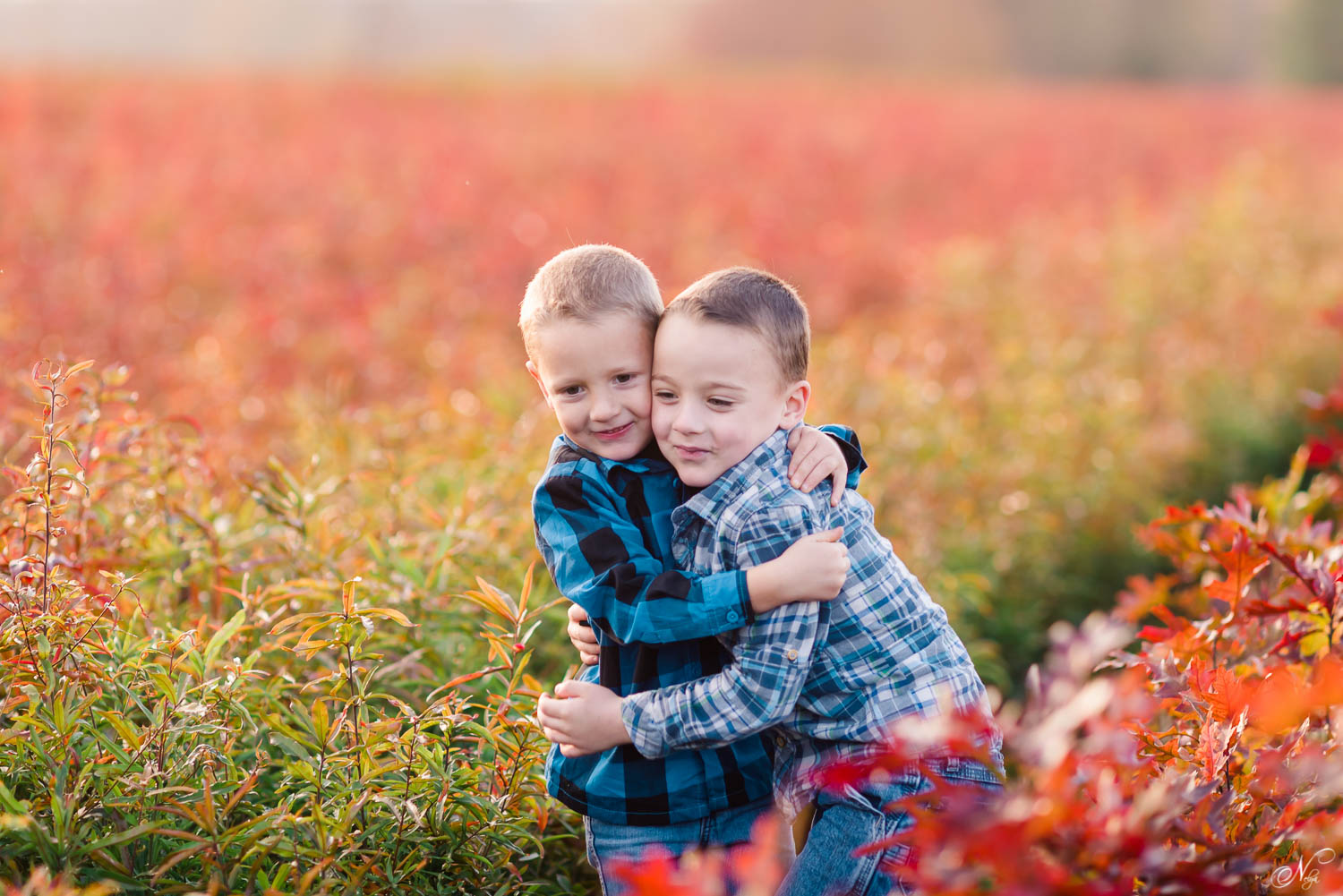 little brothers laughing hugging eachother at the TN nursary with the last of the fall foliage in the background.