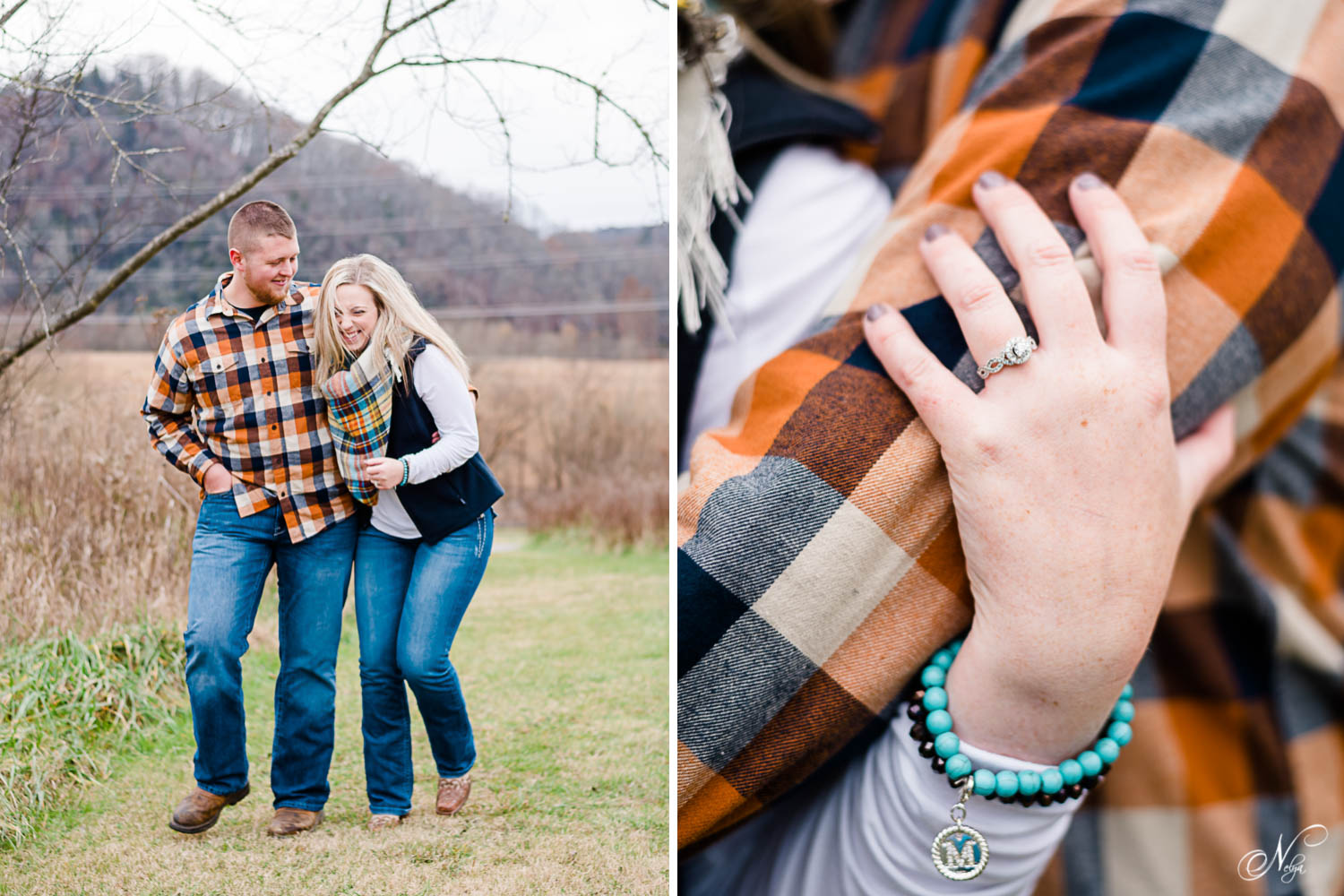 couple walking and close up of engagement ring on hand and turquoise monogramed bracelet