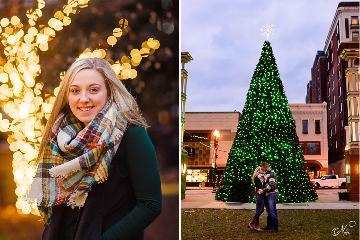 girl in forest green shirt, gray vest in front of Christmas lights in Knoxville's Krutch park
