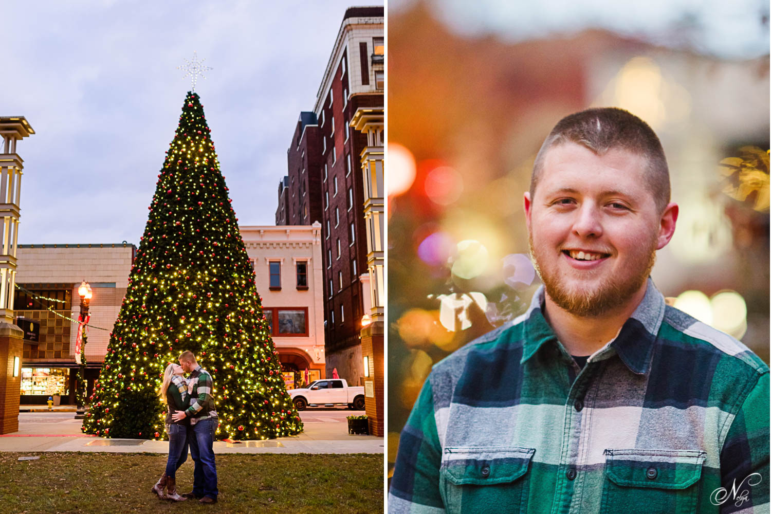 Gay st Christmas tree with couple in front of it. And portrait ofhandsome fiance with christmas lights in the background