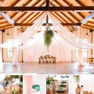 Modern Summer Elegance: Emerald, Peach, and Gold | Styled Wedding