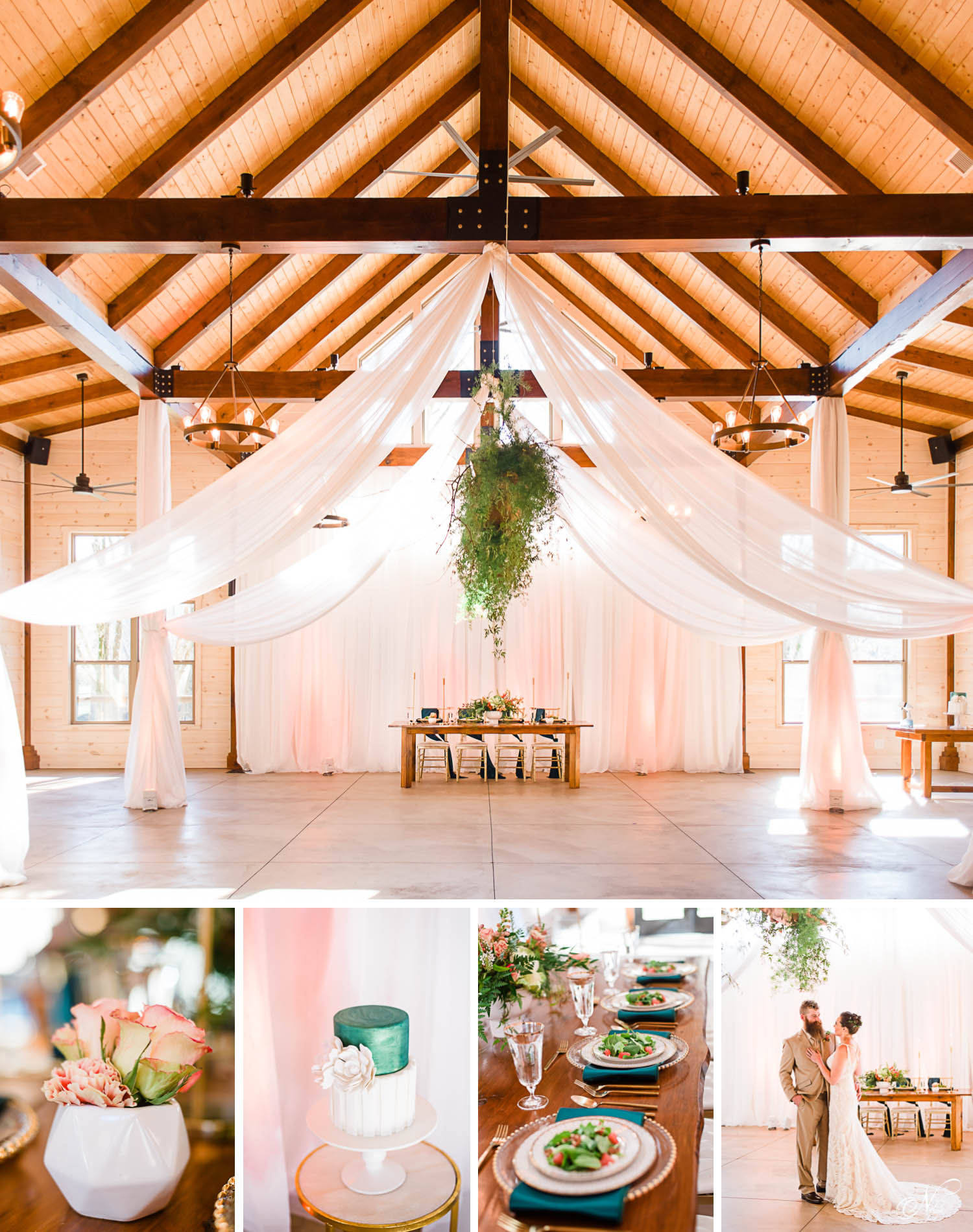 Modern Summer Elegance styled wedding reception in Emerald, Peach, and Gold at hiwassee river weddings