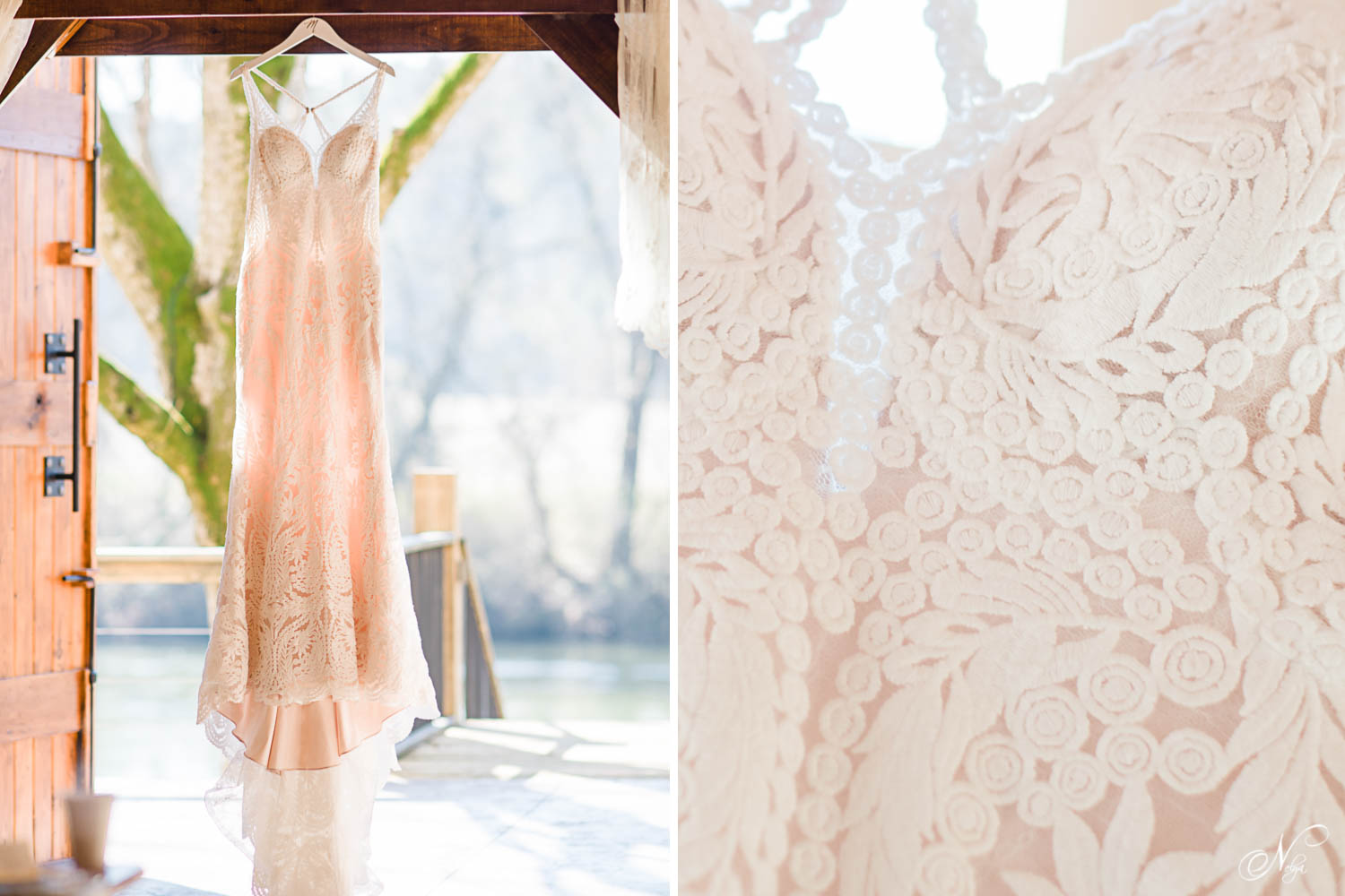 lace wedding dress from Monicas bridal in Chattanooga hanging on door overlooking the river