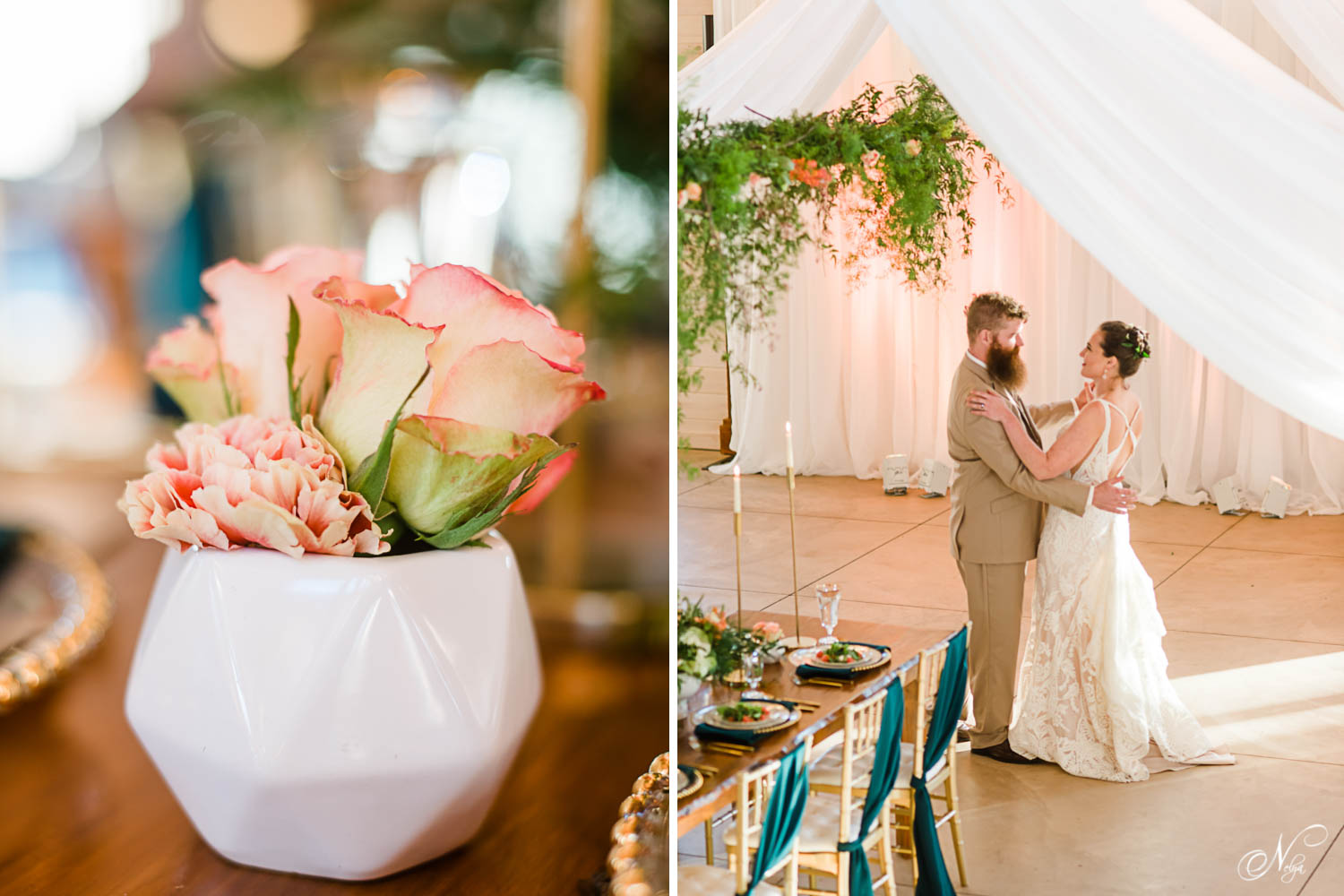 roses in a bowl and bride and groom's first dance under white draping and hanging greenery at Hiwassee river weddings