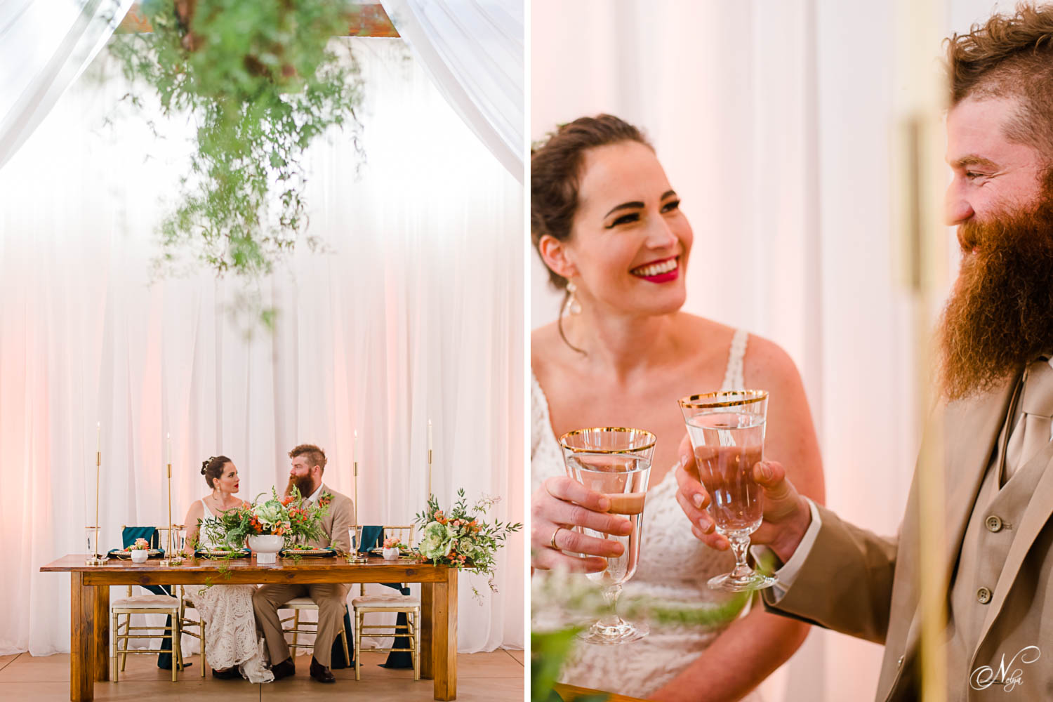 bride and groom chatting together sitting at reception table with gold rimmed glasses in their hands