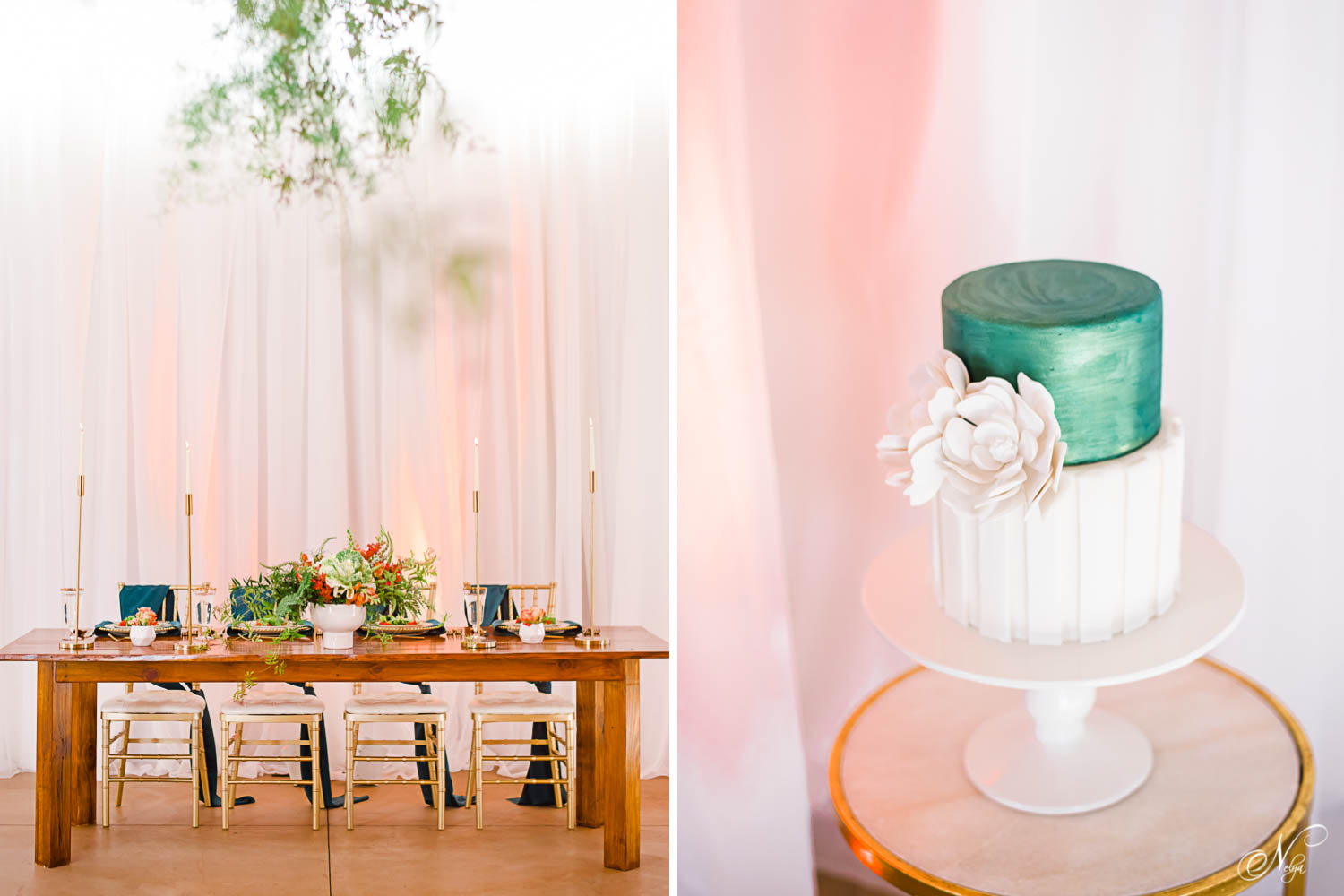 Styled wooden table with placesettings in gold and center piece in peach and greens. And Green and white Wedding cake