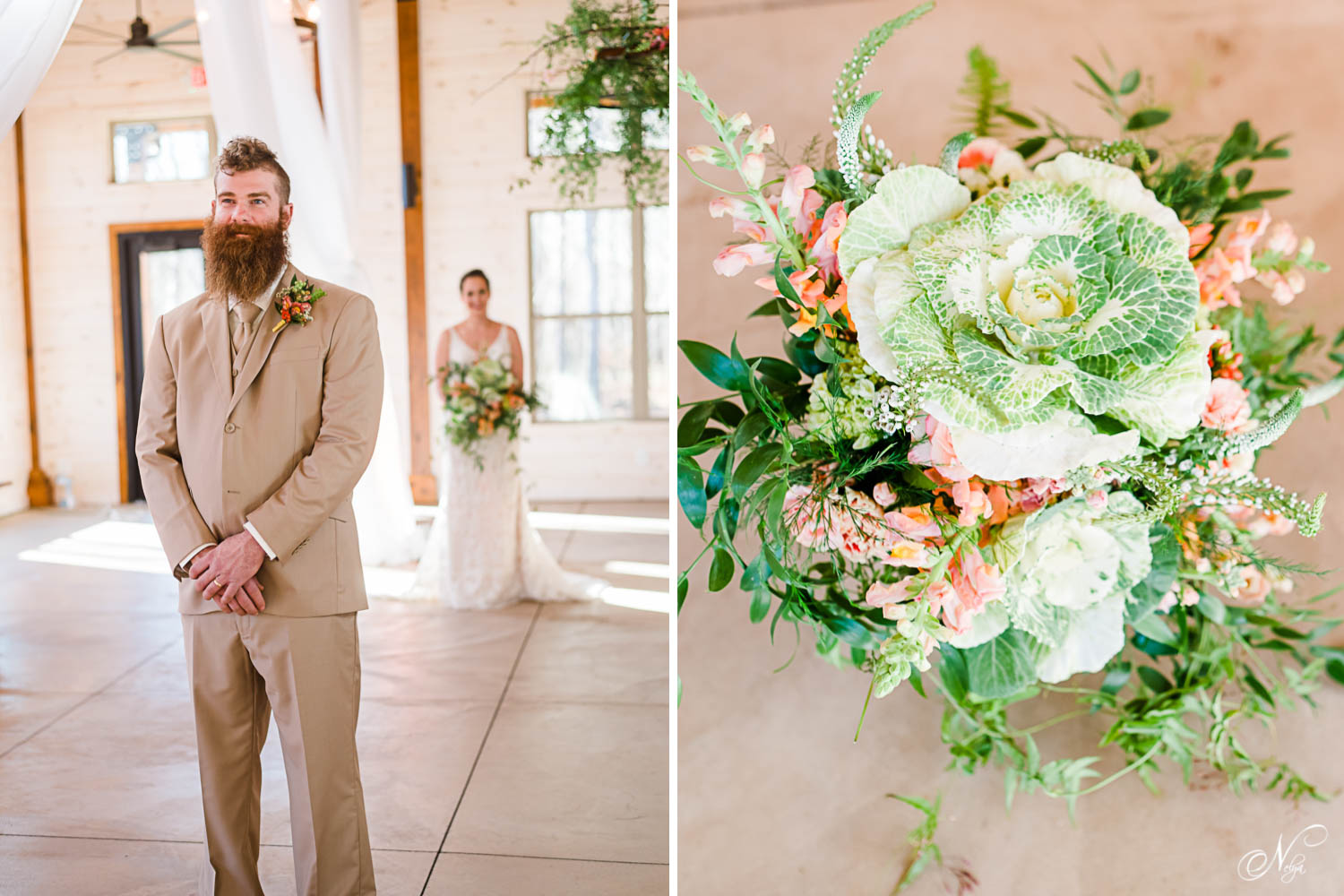 groom in tan suit inside hiwassee river weddings for First look and big flowering cabbage bouquet by Fox and Fern Florist