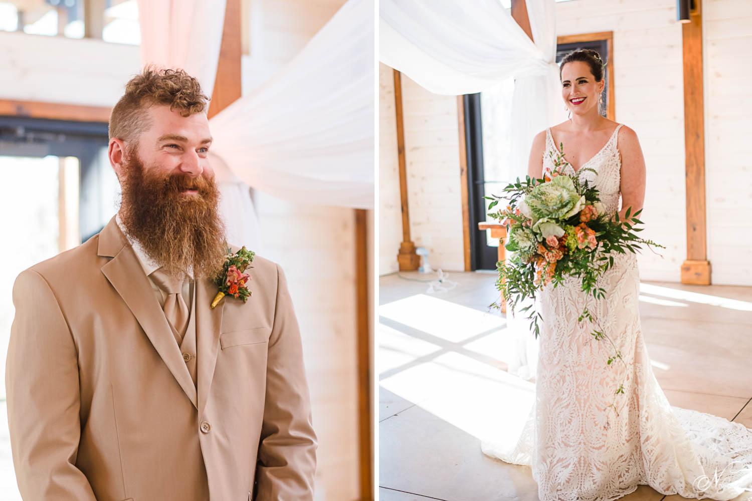 groom seeing his bride for the first look and bride with her bouquet inside Hiwassee River Weddings