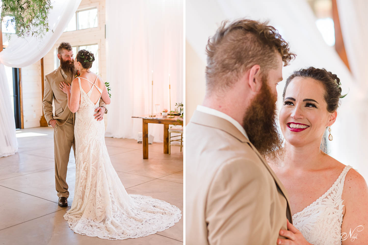 bride in lace wedding dress with lace train and bride's emotional smile at the First Look