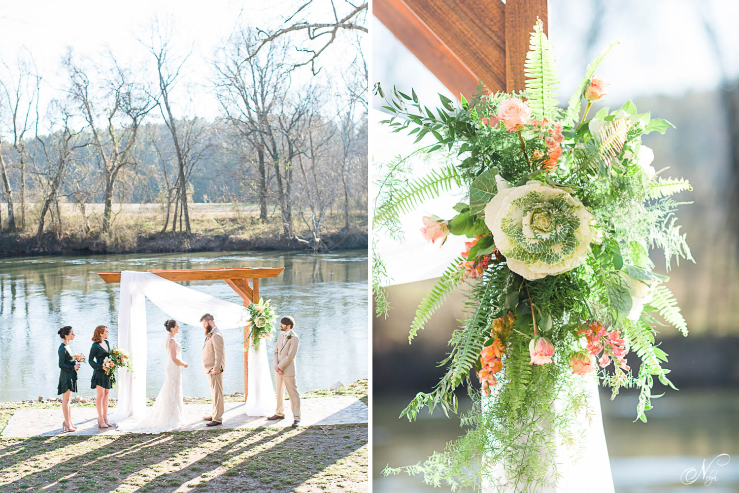 River ceremony with draping on arbor and green and peach flowers on arbor