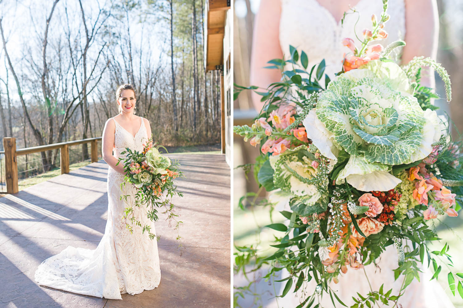 bride stanging on patio at Hiwassee River weddings and close up photo of her huge bouquet made by Fox and fern Florist from Chattanooga