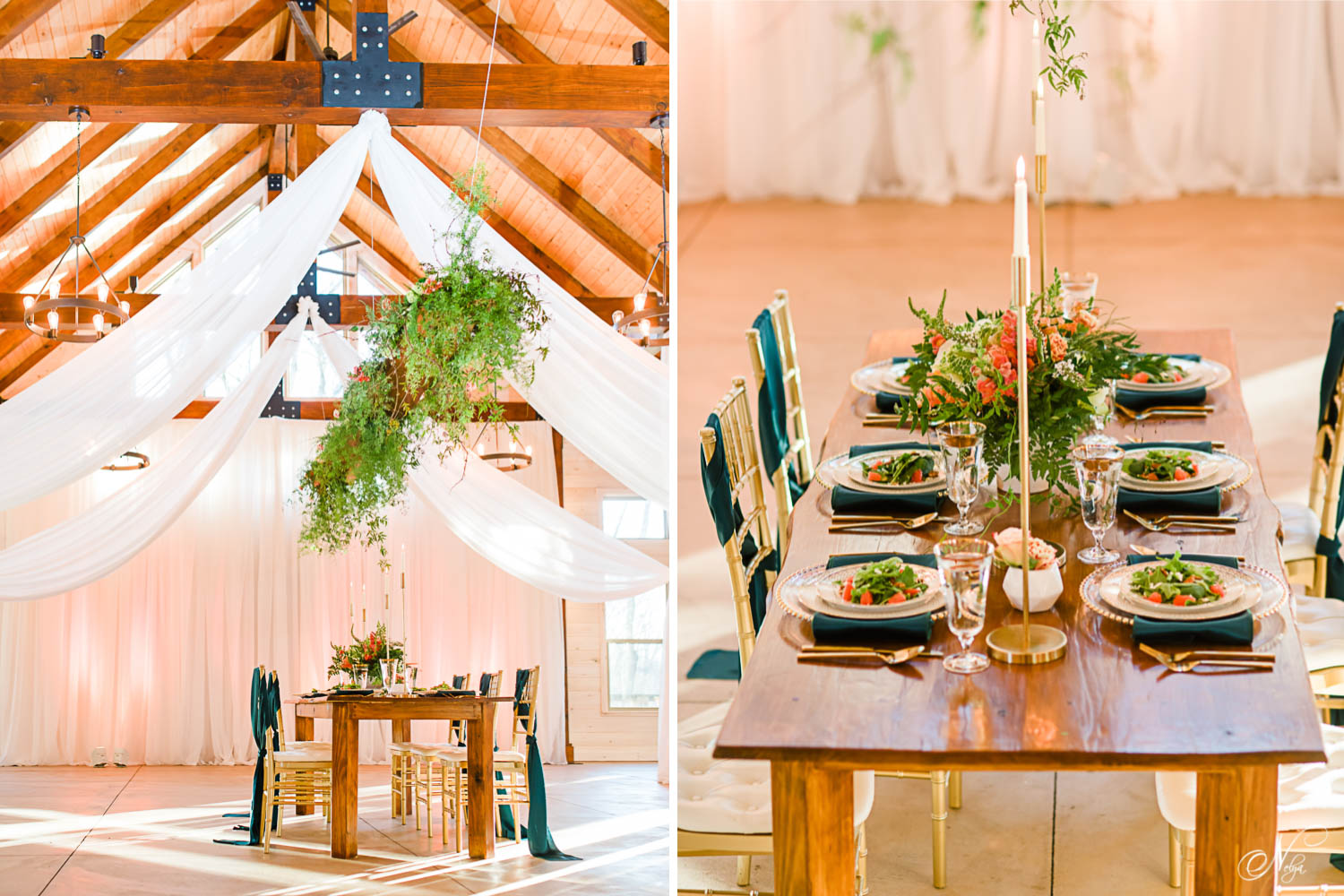 Modern gold, peach, and green themed reception with hanging greenery and white draping from ceilling to floor