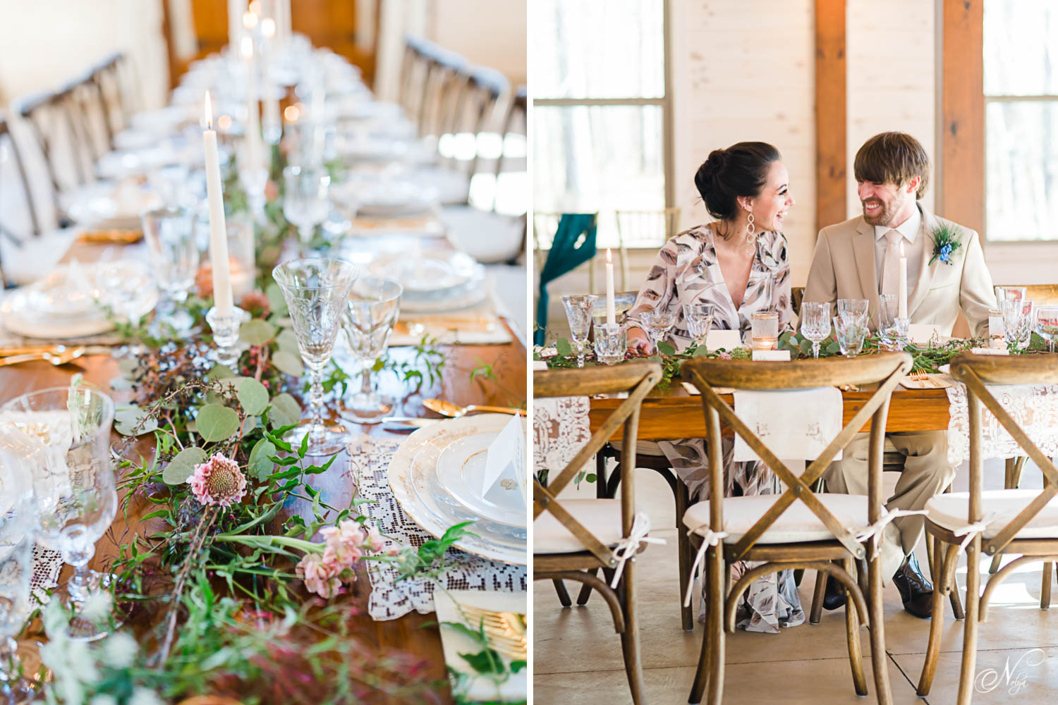 vintage glassware on long woodentable at styled reception atHiwassee River Weddings