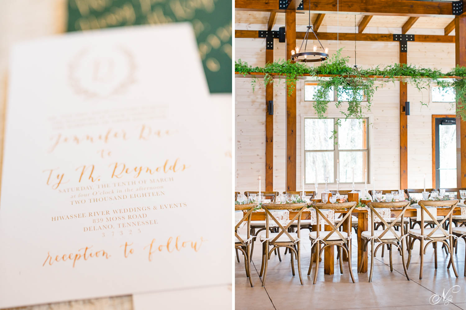 gold and white invitations onlace andcrossback chairs rentals and reception inDelano TN