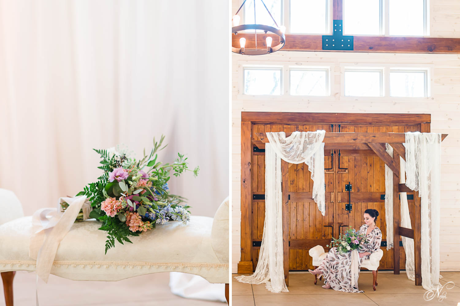 boho bouquet and bride sitting on whit seat under wooden arbor draped in lace inside of Hiwassee River Weddings