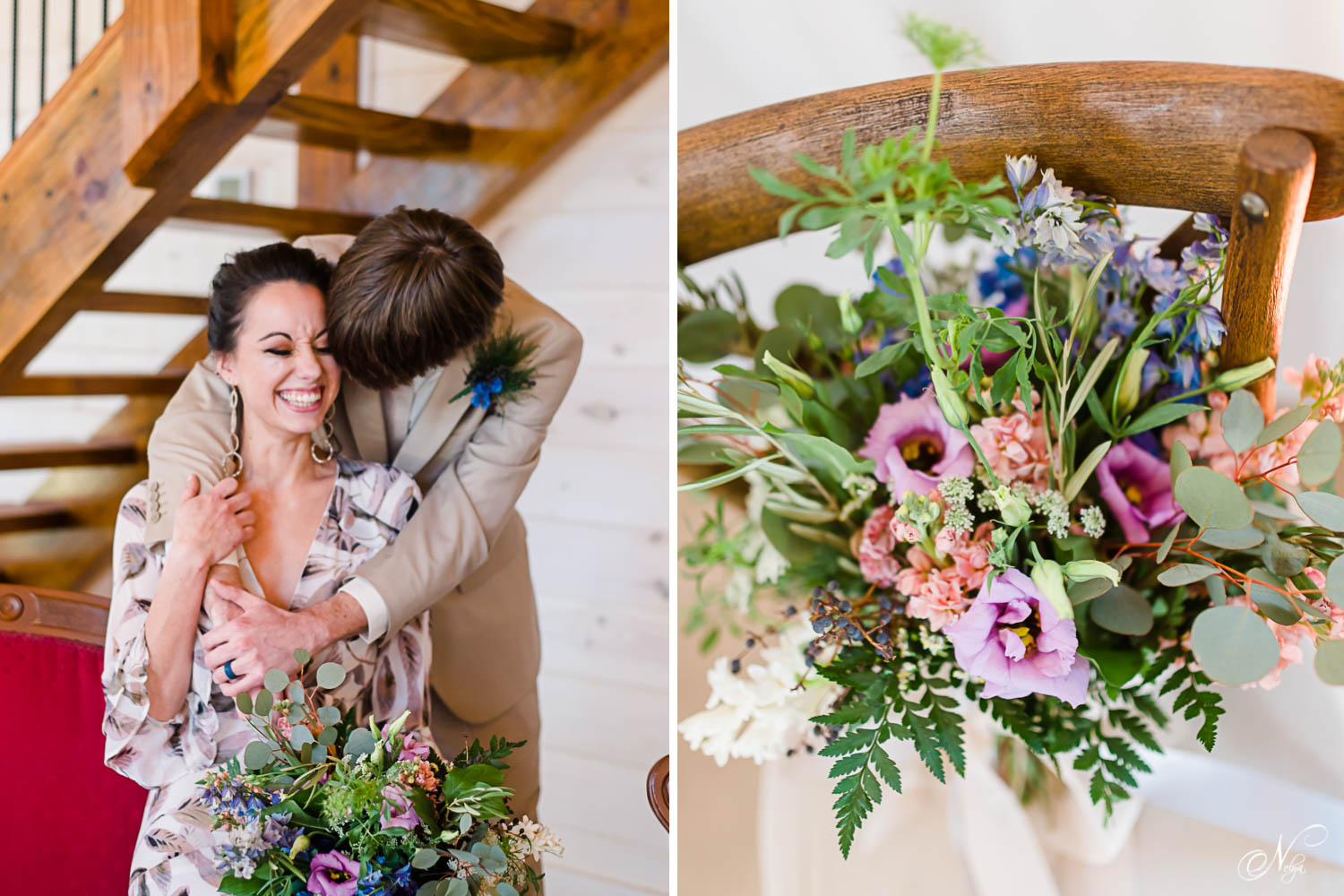 groom hugging his boho bride around her shoulders. and summer flower bouquet