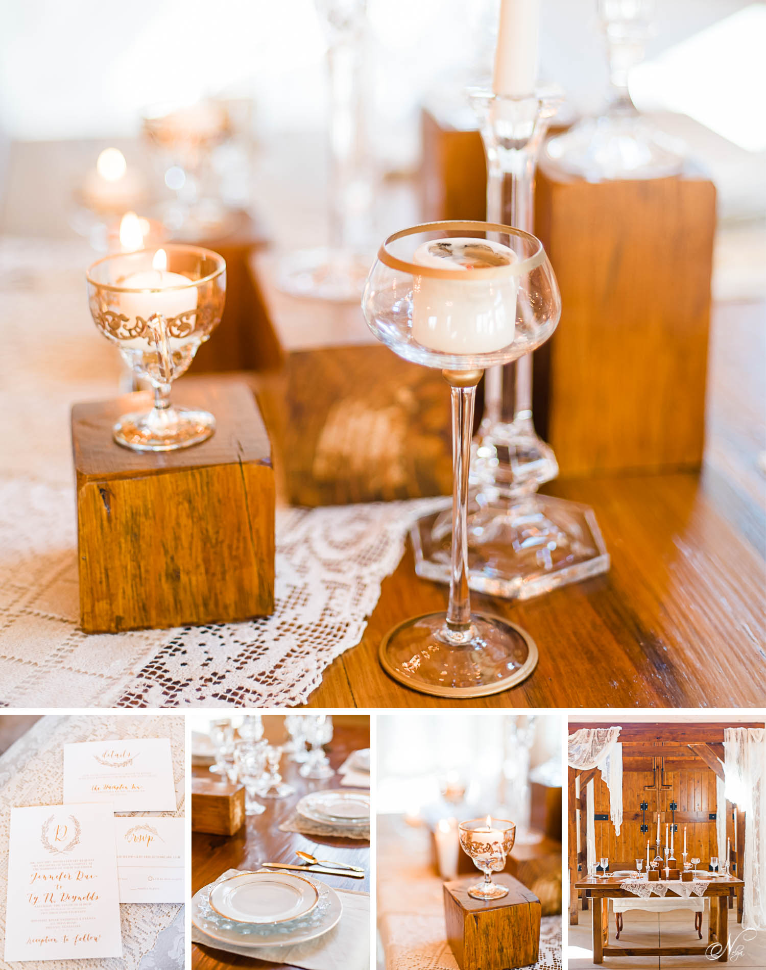 Vintage Elegance with Gold Accents on wood and lace table decor