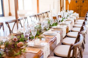 Vintage china on heavy hand made farm tables at hiwassee river weddings