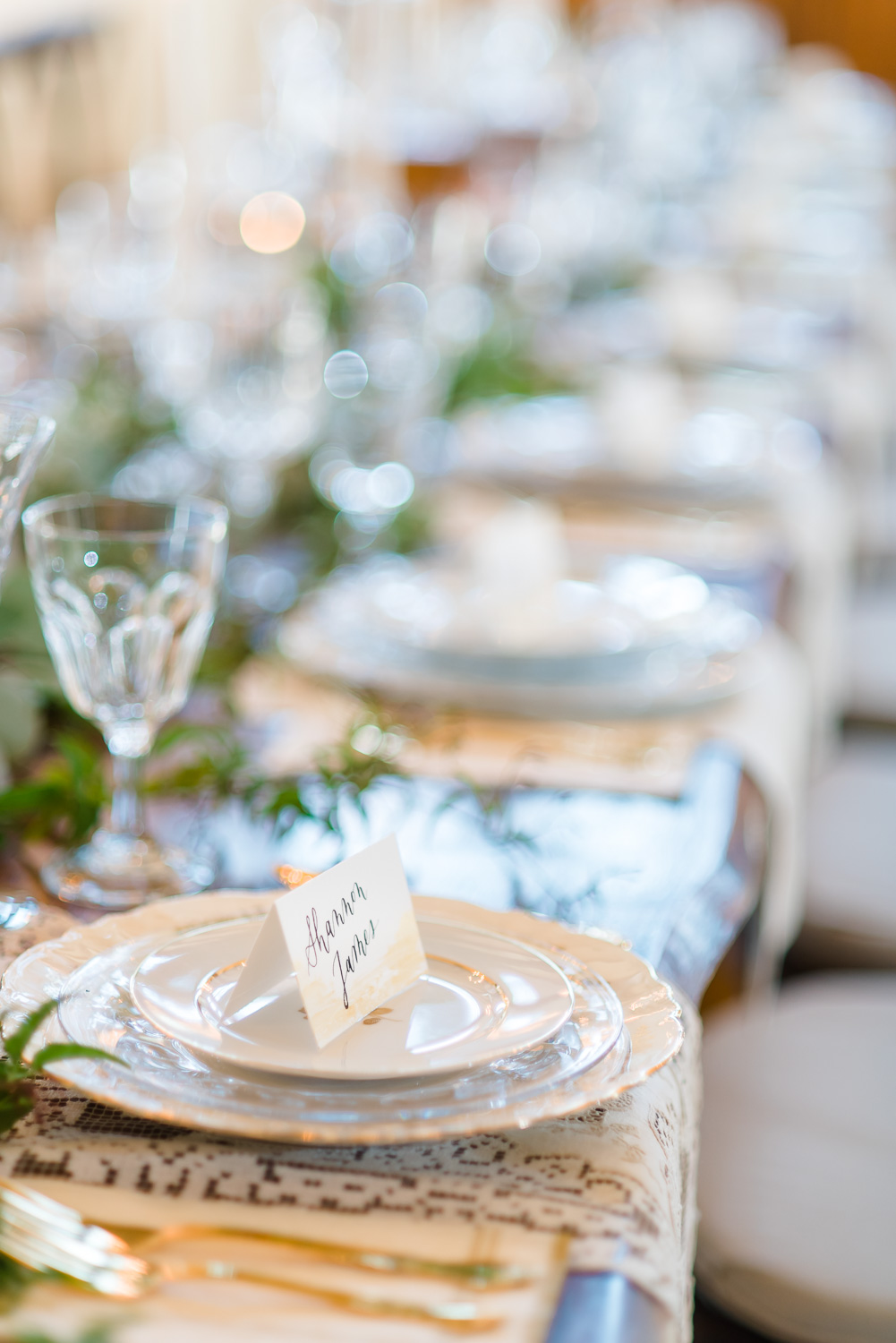 NELYA photographer _WHITE AND GOLDCHINA AND VINTAGE GLASSWARE TABLE SETTINGS AT HIWASSEE RIVER WEDDINGS
