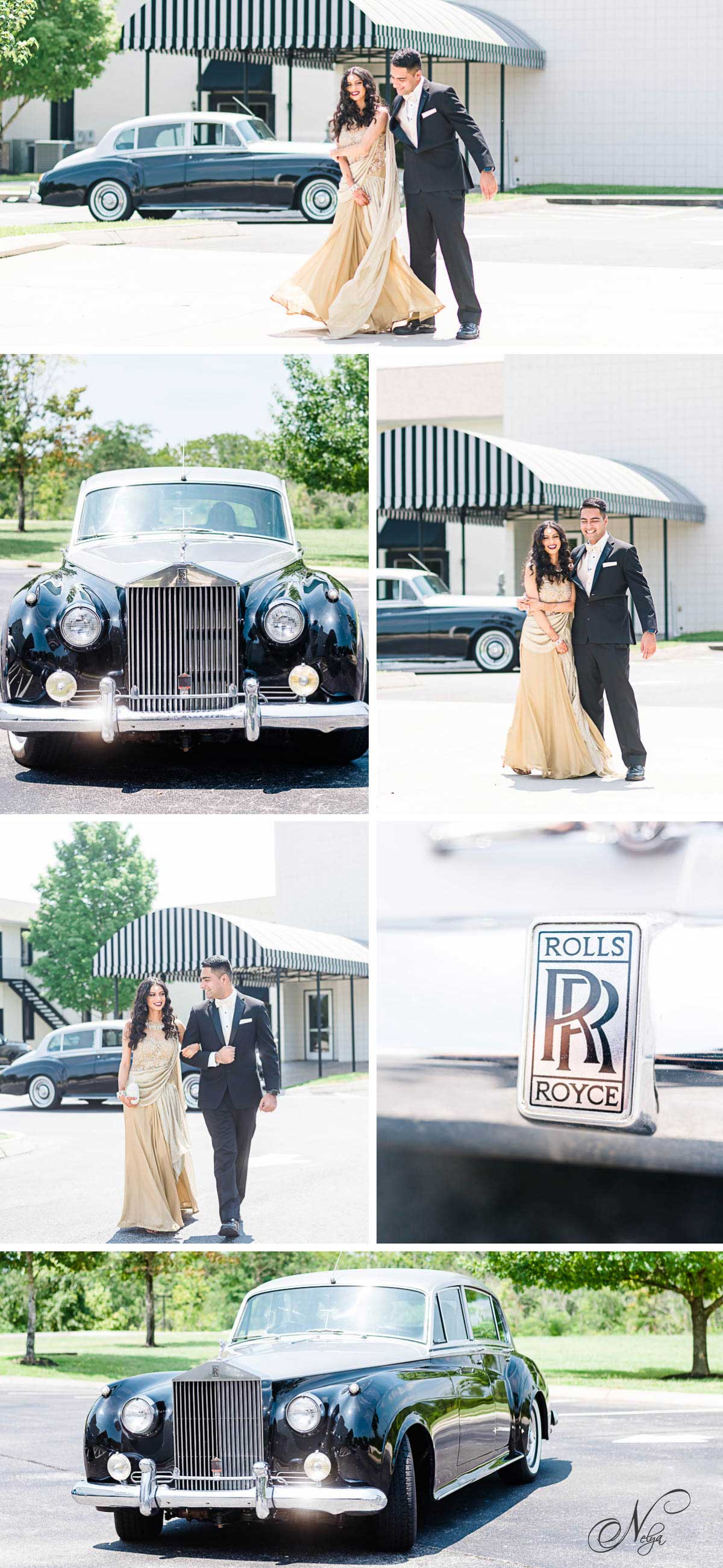 black and silver Rolls Royce rental in Knoxville TN at Bridgewater events. And engaged couple wearing a gold dress and black suit
