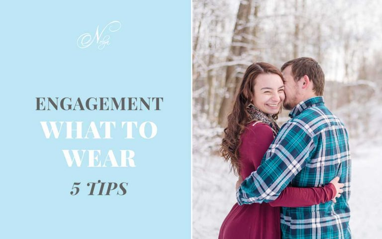 5 tips on what to wear to your Engagement session. And engaged couple in snow wearing red dress and teal plaid