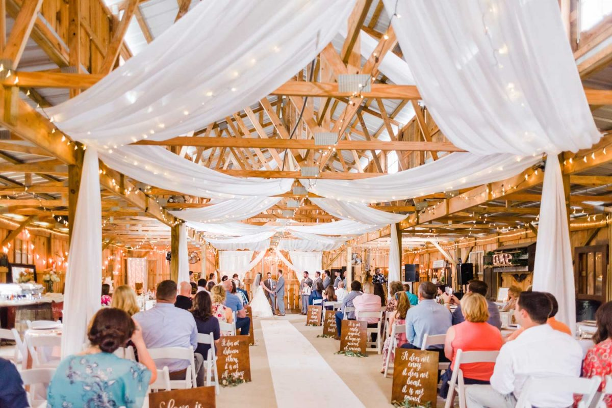 indoor ceremony setup at the barn at drewia hill in Sale Creek TN